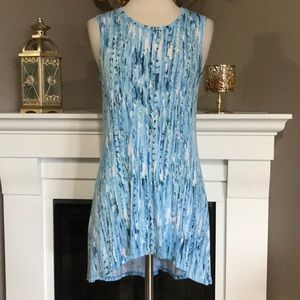 LOGO Layers Blue/White High Low Sleeveless Tunic